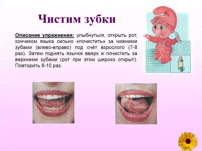 Упражнение на артикуляцию Чистим зубки