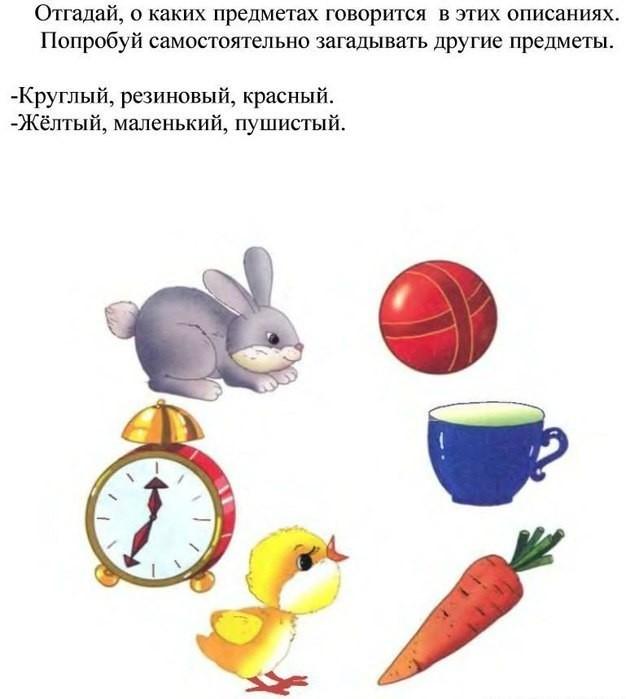 Упражнение Опиши предметы для развития речи детей 2 лет